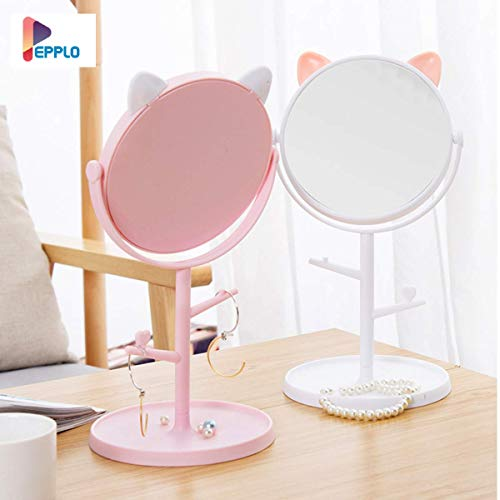 pepplo Tabletop Cat Shape Makeup Mirror Shaving Mirror,Free Standing Table Vanity Mirror on Stand with Rotation (1pcs, White)