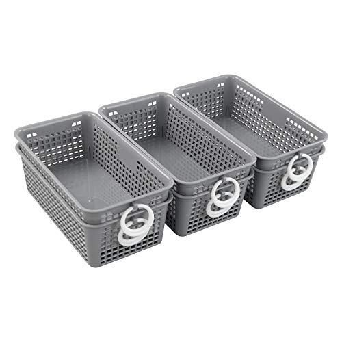 Qqbine Small Grey Storage Baskets with White Circles, 6 Packs, F