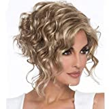 Divine Hair Short Wavy Pixie Haircuts for Black Women Synthetic Short Curly Wigs for Women Cosplay Wig Short mix Blonde Hairstyles(blonde mix brown)