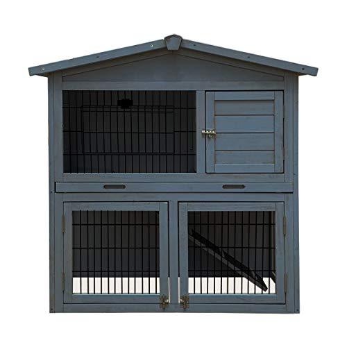 Charles Bentley Bentley Zwei Storey Kaninchenstall mit Spielplatz - Grau-Weiß