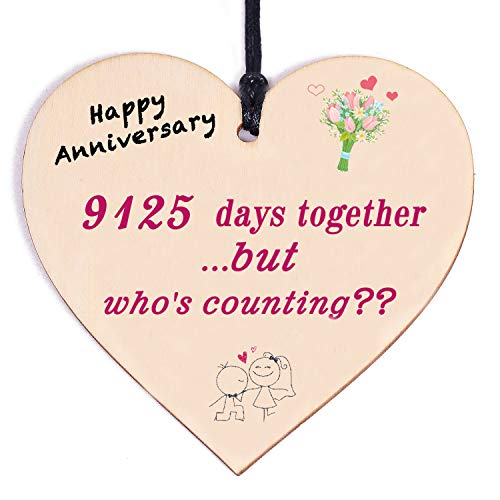 25th Wedding Christmas 5.12' Larger Handmade Wooden Plaque 25 Years Wedding Anniversary Cards Decorations for Wife Husband Him Celebrate 25th Wedding Xmas Present