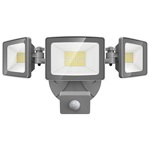 Onforu 50W LED Strahler mit Bewegungsmelder, 5000LM Superhell Außen Fluter, IP65 Wasserdicht PIR Außenstrahler mit 3 Köpfe, 5000K Tageslichtweiß Sensor Flutlicht Außenleuchte für Garten, Garage, Hof
