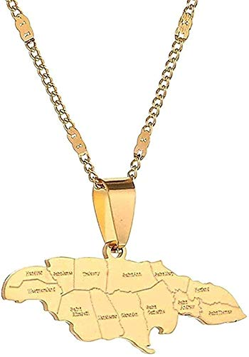 POIUIUYH Co.,ltd Collar Collar Acero Inoxidable Trendy Jamaica Map Collares Pendientes Mapa Jamaican Charm Jewelry