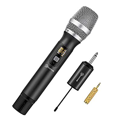 Handheld Wireless Microphone, EIVOTOR 25 Channel Professional Portable UHF Microphone System with Mini Receiver for Karaoke Singing Machine, Home KTV Set, Meeting, Church, Black