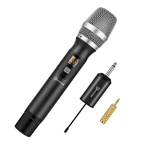 Micrófono Inalámbrico, EIVOTOR Sistema de Micrófono de Mano & Profesional Micrófono Inalámbrico & Dinámico Vocal Micrófono Portatil Wireless Microphone Cardioide Micro con Receptor 25 (Negro)