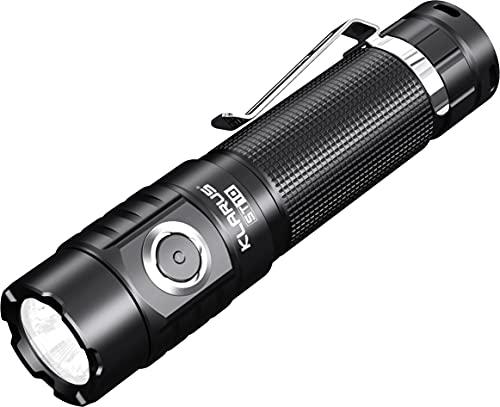 Klarus Linterna LED ST10, 1100 lúmenes, CREE XM-L2 U2, 115 metros, recargable por USB, con batería 18650, 6 modos, IPX8, impermeable, para exterior, pesca, senderismo, camping