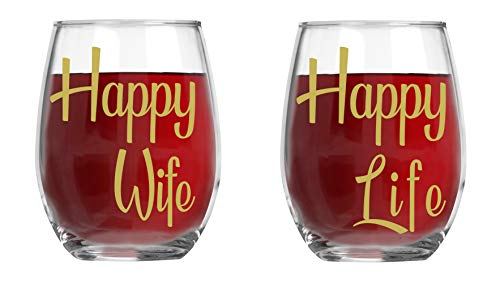 Happy Wife , Happy Life - 15oz Crystal Wine Glasses - Couples Stemless Wine Glasses – His And Hers Gifts Ideas For Anniversary, Weddings, Bridal Showers