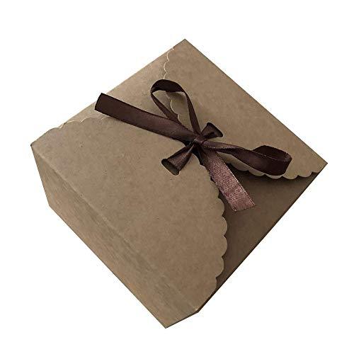 LAAT 5pcs Caja pastel papel kraft Caja papel galletas