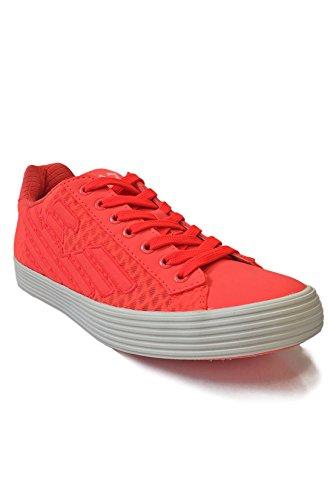 Emporio Armani EA7 Damen Sneaker Low Pride 3D Mesh - neonfarbene Turnschuhe im Mesh-Design - Fluo Red, Größe:39 1/3;Farbe:Rot