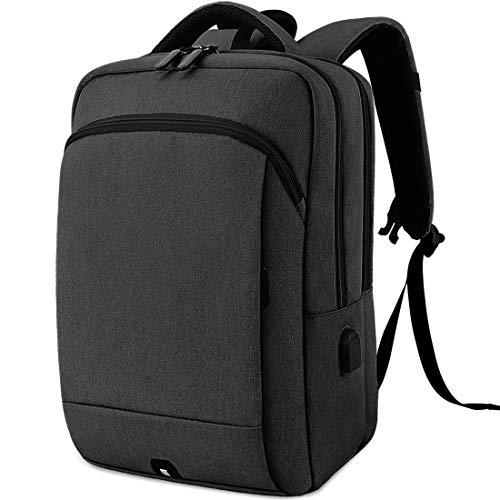 Mochila para Laptop Mochila Portatil de 15.6 Pulgadas Mochila Impermeable de Viaje para Escuela Universitaria con Carga USB Mochila para Estudiantes de Negocios para Hombres Mujeres Negro
