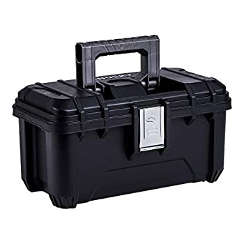 Husky 16 in Plastic Tool Box with Rugged Metal Latch  1.6 mm  and Ample Storage Capabilities in Black Tool Box Organizer Heavy Duty Durable Polypropylene Easy to Grip Impact Resistant Plastic