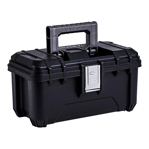Husky 16 in. Plastic Tool Box with Rugged Metal Latch (1.6 mm) and Ample Storage Capabilities in Black, Tool Box Organizer Heavy Duty, Durable Polypropylene, Easy to Grip, Impact Resistant Plastic
