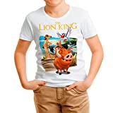 Camiseta Cine Niño - Unisex El Rey León, Timón y Pumba (Blanco, 3 años)