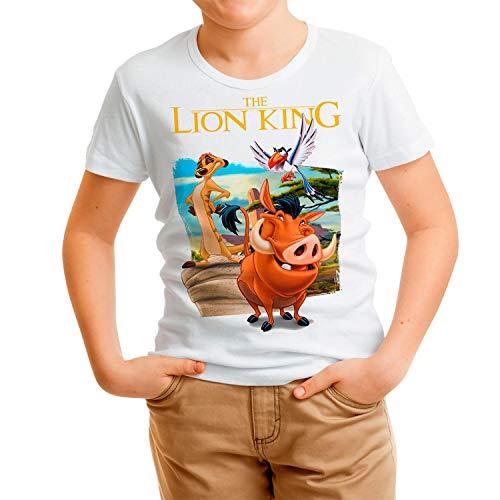 Camiseta Cine Niño - Unisex El Rey León, Timón y Pumba (Blanco, 9 años)