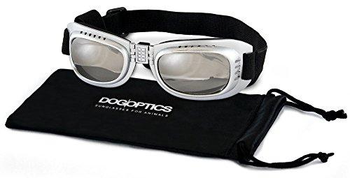 Dogoptics Biker Brille Sonnenbrille für Hunde Gestell grau Silber/verspiegelte Gläser 05Größe S