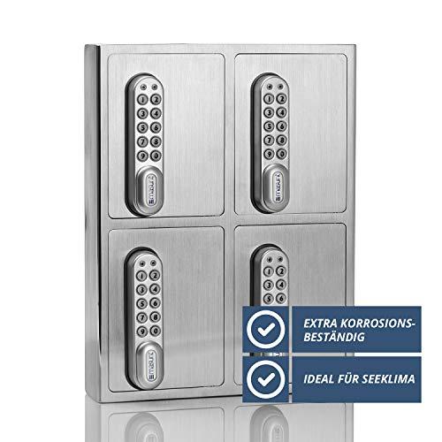 masunt Schlüsselsafe 1440 E Code | Innovative Online-Codevergabe aus der Ferne | digitaler Schlüsseltresor aus massivem V4A Edelstahl | 4 Fächer | Aufbruch-sicher | korrosionsbeständig für Seeklima