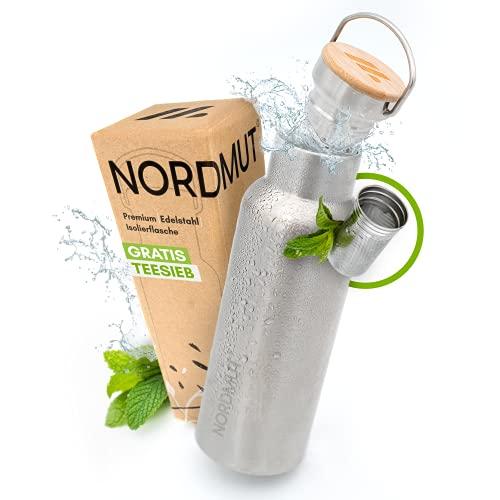 NORDMUT® Edelstahl Thermosflasche [mit Teesieb] Trinkflasche isoliert BPA frei und auslaufsicher | nachhaltige Outdoor Isolierflasche Thermoflasche - für Kinder und Erwachsene [1000 ml]