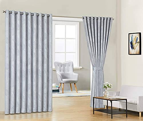 """Warm Home Designs Pair of 2 Extra Wide, Extra Long 108 x 99 Inch Grey Ivory Room Divider Panels Embossed with 3D Leaves. Floor to Ceiling Curtains Include 2 Matching Tie-Backs. B Ivory Wall 99"""""""