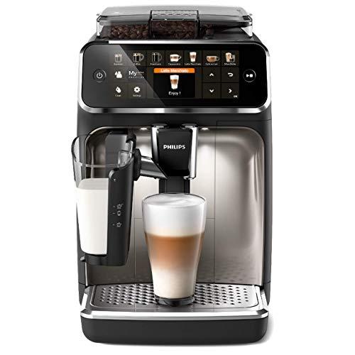 Philips 5400 Serie EP5447/90 Kaffeevollautomat, 12 Kaffeespezialitäten (LatteGo Milchsystem) Matt-Schwarz/Verchromte Ar