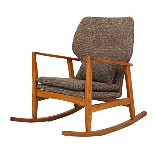 Yadianna Upholstered Rocking Chair Comfortable Rocker Padded Seat Rocking Chair (Color : Gray, Size : 60x93x81cm)