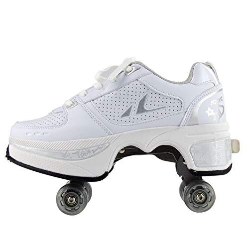 WEDSGTV Rollschuhe Verstellbar Skating Outdoor Sportschuhe Für Erwachsene Laufschuhe Sportschuhe Kinder Skateboard Schuhe,Kinderschuhe Mit Rollen,White-43