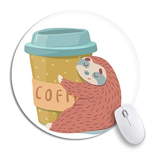 Rundes Mauspad Tier Niedlich Cartoon Faultier Umarmungen Tasse Kaffee Bunt Rutschfeste Gummibasis Mausmatte Gaming Mousepad Für Computer
