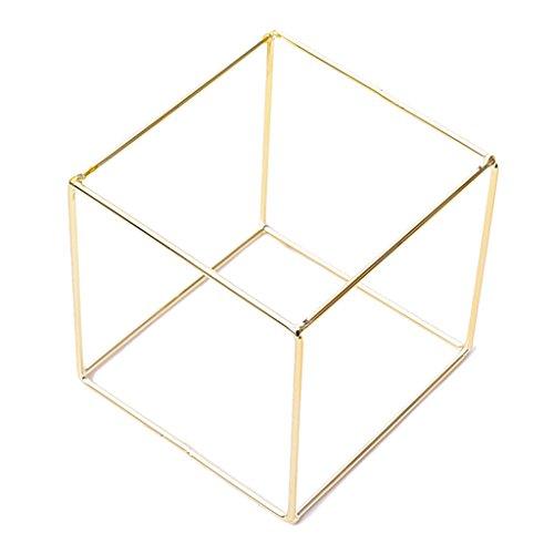 perfektchoice Marco cúbico Hollow Stand Vitrina Hierro Marco metálico Pendiente Bastidor colgante - Oro, 10x10x10cm