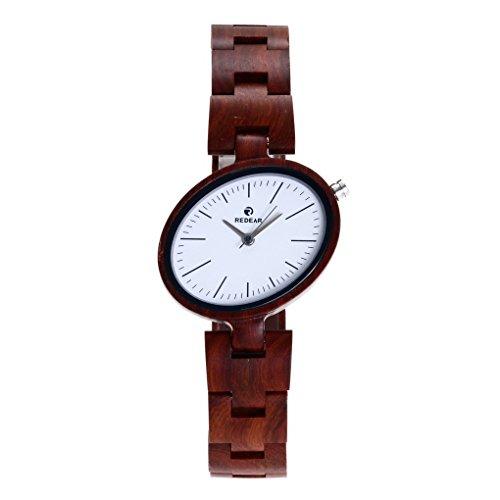 Unisex da legno di sandalo rosso orologio da polso analogico orologio al quarzo mano Legno