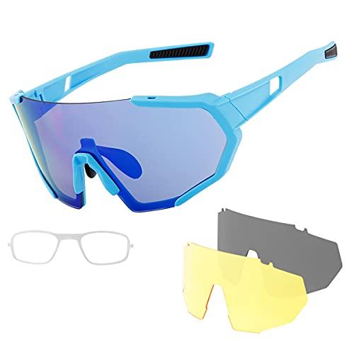 YJSJ Gafas De Ciclismo MTB Bicicleta De Carretera Gafas De Sol Polarizadas Protección UV400 Gafas De Bicicleta Unisex Ultraligeras Gafas Deportivas Fotocromáticas con 3 Lentes(Color:A6)