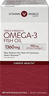 Vitamin World Triple Strength Omega-3 Fish Oil 1360 mg 60 softgels, 950 Active Omega-3, Heart Health, Cardio Support, Rapi...