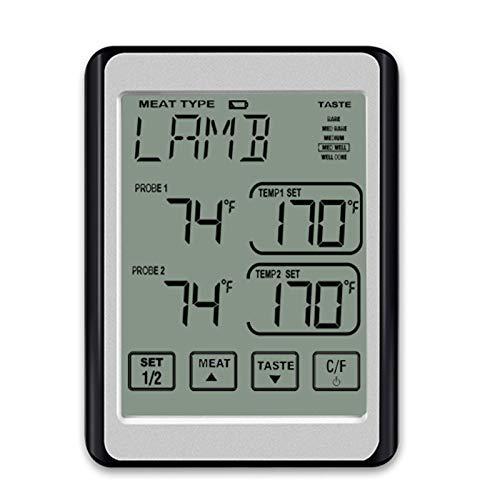 LZWNB Dual-Probe digitales Fleischthermometer, Touchscreen-Essen kann sicher im Outdoor-Grill mit Timer-Modus platziert Werden, geeignet für Raucher Küchenofen