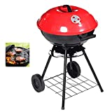 Equipment 17 Inch Charcoal Grill Trolley BBQ Barbecue Grills Barbecue Grills Portable Charcoal Grill For Garden Indoor Outdoor Camping Cooking