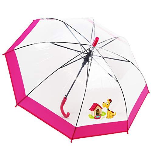 Dr. Neuser Kinder Regenschirm Stockschirm Schirm Kinderschirm Transparent 103 HF, Farbe:Hund