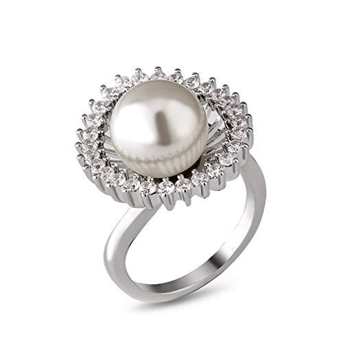 Ai.Moichien Anillos De Perlas De Agua Dulce para Mujer Alianzas De Boda Chapadas En Platino con Diamantes De Imitación Joyería De Compromiso Elegante Y Delicada