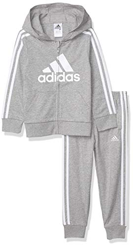adidas Boys' Li'l Sport Fleece Zip Front Hoodie & Jogger Active Clothing Sweatsuit Set, Essentials Grey Heather, 6