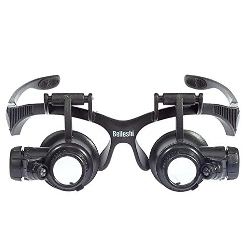 NXSI Lupa de gafas, lupa de identificación de joyería con luz LED, lupa de reparación de reloj, lente reemplazable de 10 x 20 x, utilizado para reparación de relojes/joyas/reparación electrónica