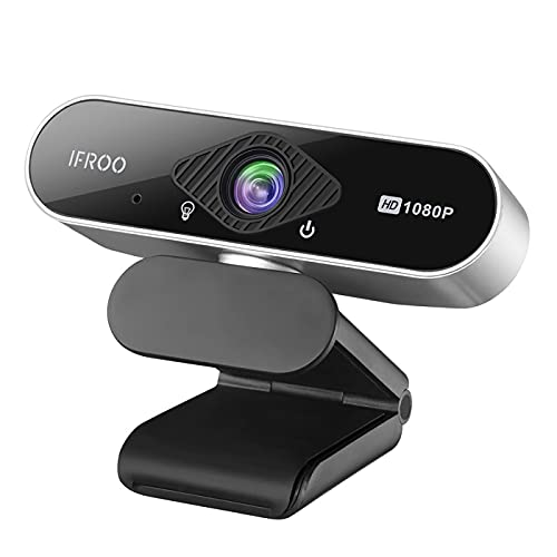 IFROO FHD 1080P Webcam with Microphone,No fisheye Wide-Angle for Desktop Laptop Computer Web Camera,USB Plug and Play,Compatible Skype Zoom YouTube Windows/Mac OS,for Live Streaming,Recording,Gaming