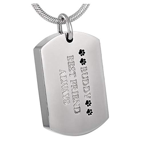 Wxcvz Colgante Conmemorativo Collar con Colgante De Cremación De Acero Inoxidable con Grabado De Pata para Mascotas, Cenizas, Mantener Askeurn, Mi Perro, Mi Mejor Amigo, Foever