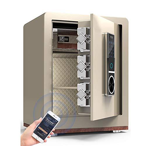Kantoorbenodigdheden, cijferslot, elektronisch slot, vingerafdruk, touchscreen, met alarmkluis, 38 x 32 x 45 cm, 9-28 Champagne Goud