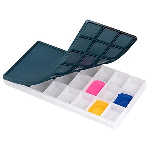 Caja de Paleta de Pintura Paleta de Mezclas de Colores Plástico con Tapa Suave Caja para Acuarela Acrílico 24 Compartimentos