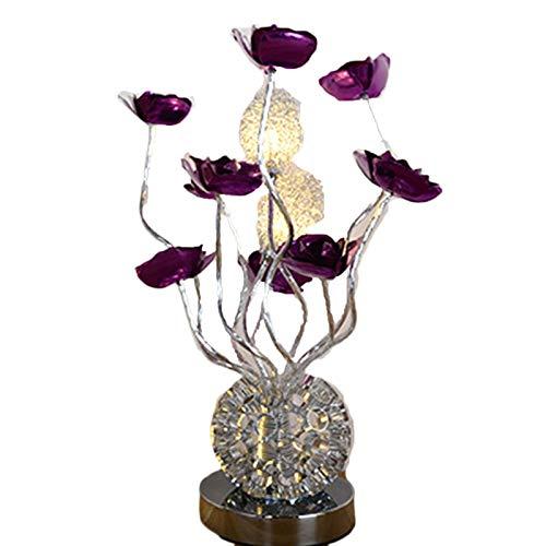 YILUXIANG Creativo Romántico Aluminio Rosa Lámpara De Escritorio LED, Mano Diseño Noche Decoración Regalo De Boda Luz De Mesa De San Valentín Plata Violeta