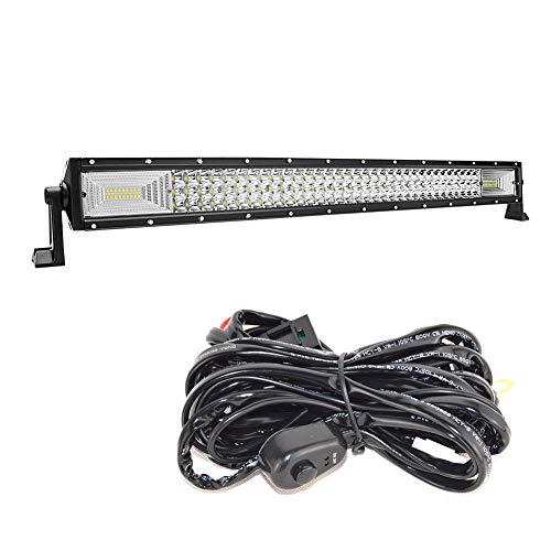 Barra de luces LED de trabajo Spot Flood Combo de 32 pulgadas para camión, coche, ATV, SUV, 4x4, camión, barco, lámpara de conducción y kit de cableado