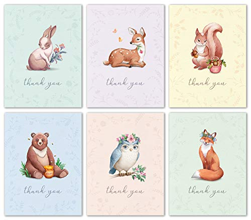 Woodland Animal Thank You Cards Bulk Box Set of 48 Blank Cards with Envelopes - Baby Shower Note Cards, Wedding Thank You Cards or Bridal Shower Thank you Card