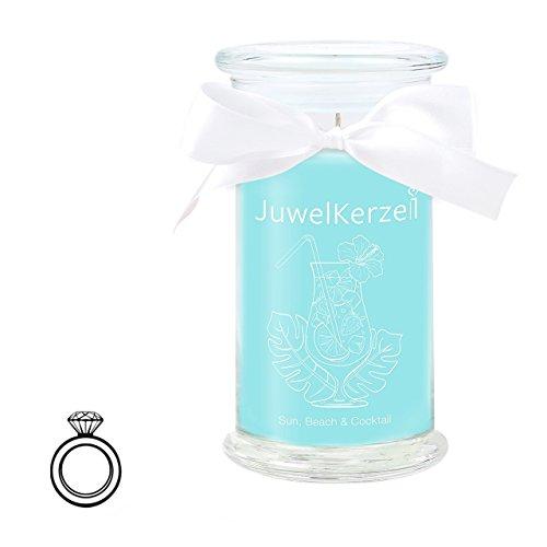 JuwelKerze Sun, Beach & Cocktail - Kerze im Glas mit Schmuck - Große Blaue Duftkerze mit Überraschung als Geschenk für Sie (Silber Ring, Brenndauer : 90-125 Stunden)