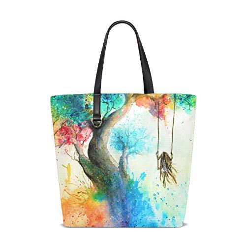 XiangHeFu dames handtassen regenboog boom schommel polyester stof schoudertas