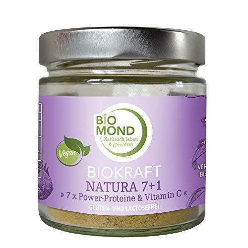 *BIOKRAFT Natura 7 +1* - 7 x Power Proteinpulver & Vitamin C 155 g / Proteinshake VEGAN / Leinsamen, Traubenkerne, Schwarzer Sesam, Hanfsamen, Kokosnuss, Sonnenblumenkerne tagesfrisch gemahlen