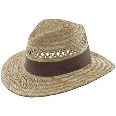 Panama Jack Safari Straw Hat - Lightweight, 3' Big Brim, Inner Elastic Sweatband, 3-Pleat Ribbon Hat Band (Brown, Small/Medium)