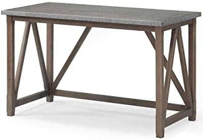 Zinc Top Bridge Desk - The Contemporary Design of This Desk Compliments Any Room: Office, Home, Hall, Study, Living Room or Apartment. Sturdy Grey Desk That Is Built to Last. Wood Table for Writing or