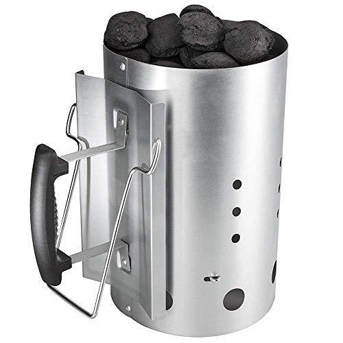 Denmay Arrancador de chimenea de carbón vegetal con asa de seguridad para Weber 7416, Camping y barbacoas, Columna de combustión más ligera con carbón de madera, 30 cm de altura, 19 cm de diámetro
