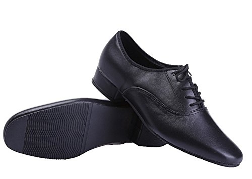 BeiBestCoat Black Modern Outdoor Dancing Shoes Lace-up Leather Soft Sole Dancing Shoes for Men (6.5 D(M) /38 EU)